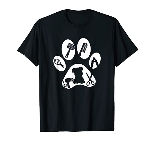 Hundefriseur Hunde Pfote Geschenk T-Shirt