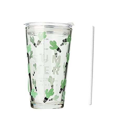 Homoyoyo Taza de Agua de Cristal de 450ML con Pajita Cactus Tropical Taza de Medición Graduada de Vidrio Taza de Bebida de Viaje Taza de Beber Taza para Té de Verano Café Jugo Verde