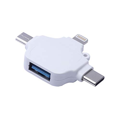 3 in 1 OTG Adapter for SD TF Card Reader Compatible with iPhone iPad, Iightning/USB Type-C/Micro-USB to USB Camera Adapter for Card Reader, Keyboard, Mouse,U Disk, USB Flash Drive