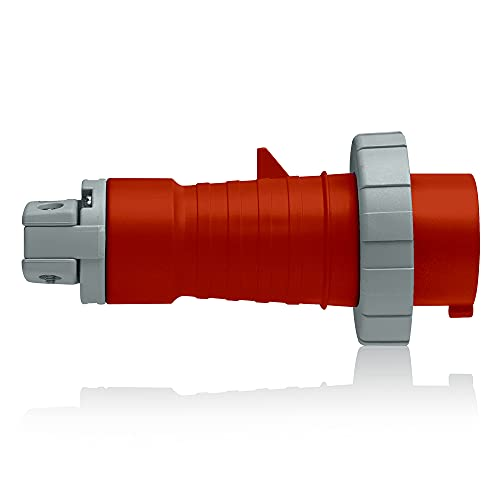 Leviton 420P7W 20 Amp, 480 Volt 3-Phase, 3P, 4W, North American-Rated Pin & Sleeve Plug, Industrial Grade, IP67, Watertight - RED