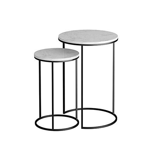 HCYY Mesa Auxiliar Juego de 2 mesas auxiliares, Mesa de mármol, pequeña Mesa de Noche de café, mesas Nido para Sala de Estar, Dormitorio, balcón, Mesa de Esquina (Color: Negro)