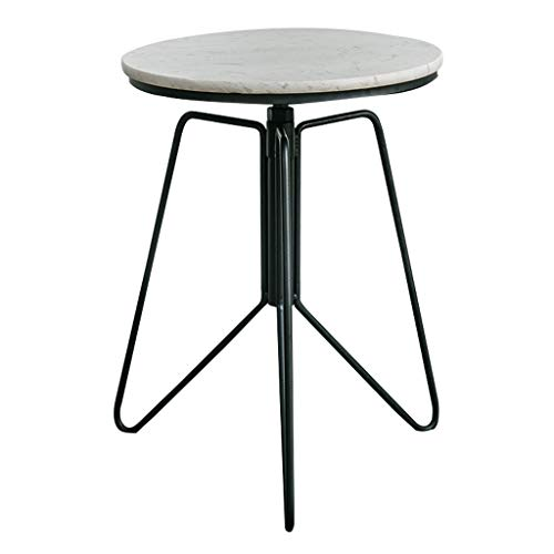 Coffee Tables Round Marble Side Table/Living Room Coffee Table/Creative Leisure Wrought Iron End Cocktail Table for Bedside/Hallway/Bedroom, Adjustable Height:52-68cm
