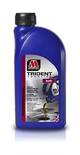 Millers Oils Trident Longlife 5W40 C3 volledig synthetische motorolie, LL04 Dexos 2, 1 liter