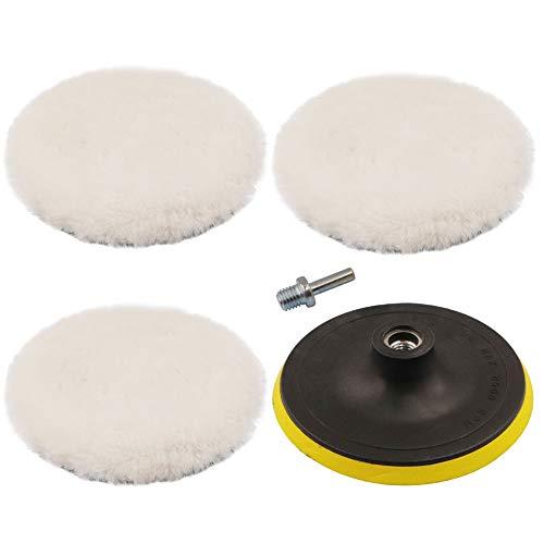 ANWTOTU 5 Pcs 6 Inch Polishing Buffing Wheel for Drill Wool Pads Wheel Polishing Pads Woolen Polishing Waxing Pads Kits with M14 Drill Buffer Adapter