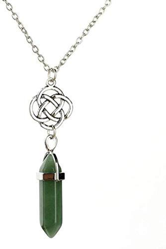 NC188 Collares Pendientes de Piedra para Mujer Flor de Plata Piedra Natural Collares Pendientes Verdes con Cadena de Plata Adornos de Navidad Regalo para Mujeres