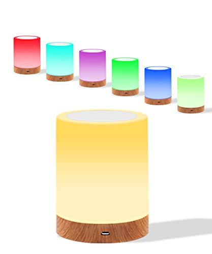 Nachttischlampe Touch Dimmbar, Nachtlicht Baby mit RGB-Farbwechsel, Nachtlicht Kind LED Nachttischlampe Touch USB zum Lesen, Schlafen und Entspannen