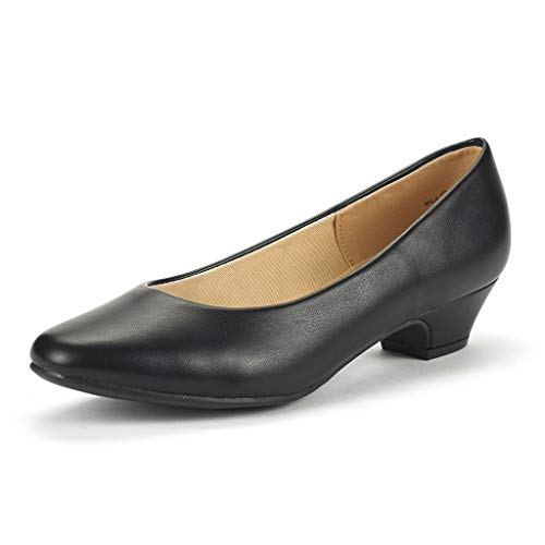 DREAM PAIRS Women's Mila Black Pu Low Chunky Heel Pump Shoes Size 5 M US