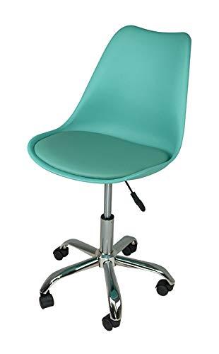 Sedia da Ufficio Girevole, Sedia da scrivania Verde Acqua con rotelle MOD. Sally