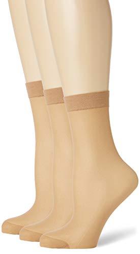 Pretty Polly Damen Comfort Top Ankle Highs 3pp Füßlinge, 15, Beige (Nude Nude), One Size (Herstellergröße: OS) (3er Pack)