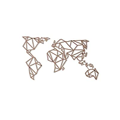 Hoagard Metal World Map Bronze XL | 80cm x 140cm | Geometric Metal Wall Art & Wall Decoration by Hoagard