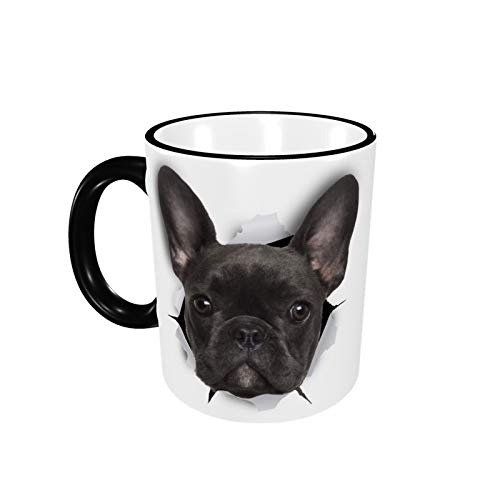 Black French Bulldog Cute Novelty Coffee Mug Ceramic Tea Cup with Handle for Office Home Cappuccino Cocoa Women Men Gift 12 oz