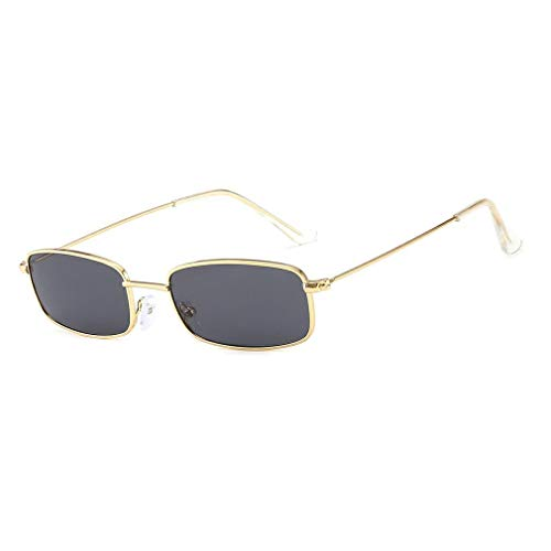 Retro Shades Gafas de Sol rectangulares Marco de Metal Lente Transparente Gafas de Sol Uv401 (Dorado y Gris)