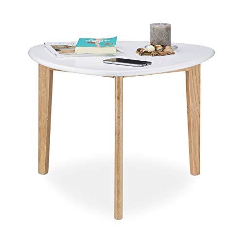 Relaxdays Couchtisch, Nierentisch, Tischbeine aus Eichen-Holz, weiße Tischplatte, modernes Retro-Design, 50er Jahre, weiß / natur
