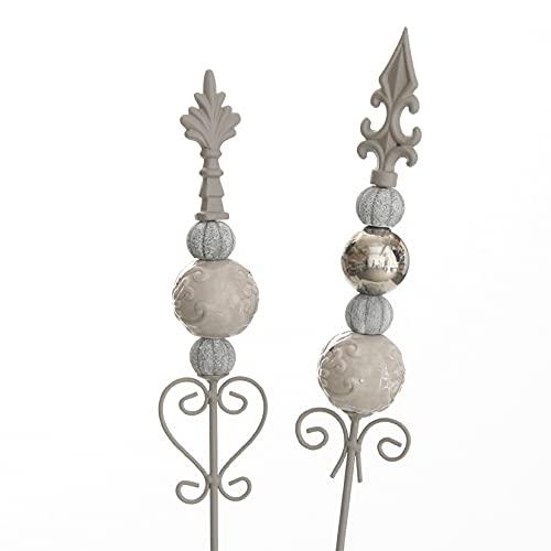 dekorativer Gartenstecker Motiv Lilie Metall hellgrau mit Keramik - Kugelornamenten im 2-er Set in 2 möglichen Farbvarianten hellgrau - taupe - silber oder creme-hellrose - silber (hellgrau - taupe)