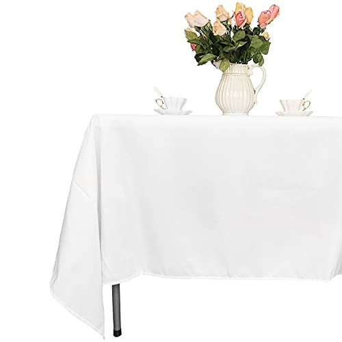 """Trimming Shop 70"""" x 144"""" rectángulo Blanco Cubierta de Tela de Mesa de poliéster Liso - Tejido de Lino Ancho Adecuado para Superficies Planas - para Banquetes, recepciones de Bodas, y Eventos"""