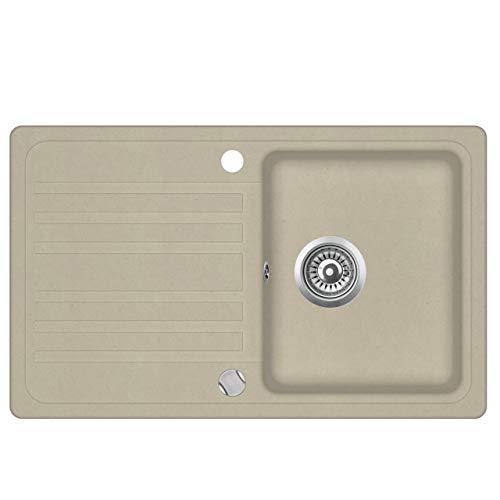 Granit Einbauspüle Küchenspüle Spülbecken Spüle mit Abtropffläche beige 76,5 x 46 cm