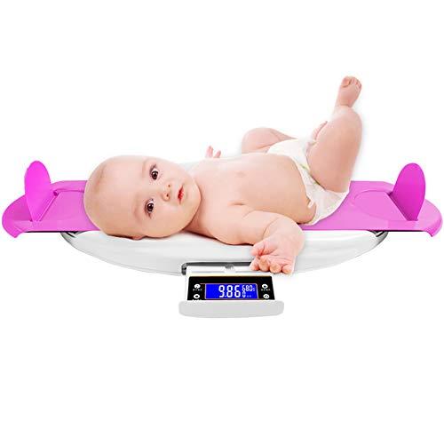 Lbellay LCD-Hintergrundbeleuchtung Smart Baby Waage mit Musik Home Baby elektronische Waage, Neugeborene Höhenskala, Präzise gesunde Babywaage,Pink-63 * 32cm