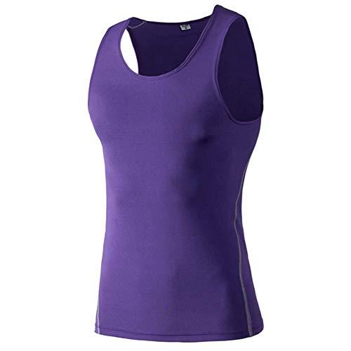 Huaheng Mannen Compressie Basislaag Mouwloos Vest Tank Top Sneldrogende Sport Gym Onder Shirt 2XL Paars