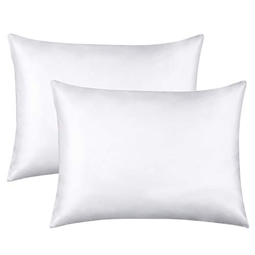 FLXXIE 2 Pack Zippered Satin Standard Pillowcases, Silky Soft and Luxury (White, Standard)