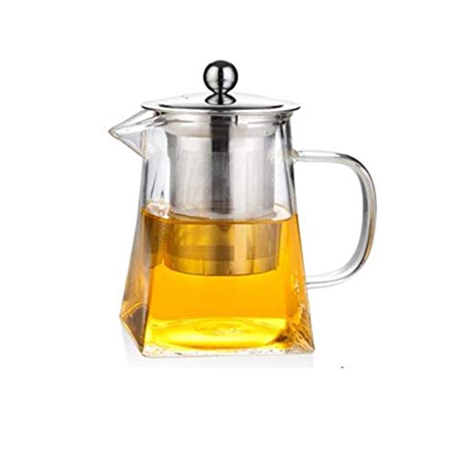 Wghz Tetera de Moda Tetera 500 ml Tetera Cuadrada de Vidrio Tetera de Hojas Sueltas Resistente a Altas temperaturas Tetera de café Tetera de Filtro de infusor de Acero Inoxidable (Color: Claro, T