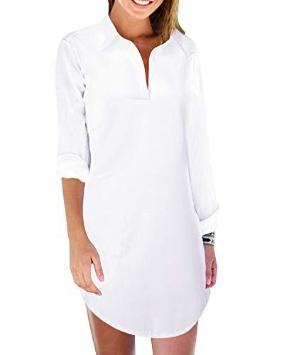 ZANZEA Women's Swimsuit Beach Cover Up Shirt Bathing Suit Bikini Beachwear Summer Tunic Top with Pocket White US 24W