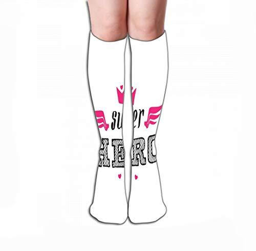 GHEDPO Calze Alte Knee High Fun Socks for Women Men's 19.7'(50cm) Super Hero Print Crown Wings Hearts Lett Super Hero Print Crown Wings Hearts Lettering