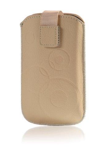 Handytasche Circle passend für Cubot X9 Handy Etui Schutz Hülle Cover Slim Hülle beige-braun mit Klettverschluss