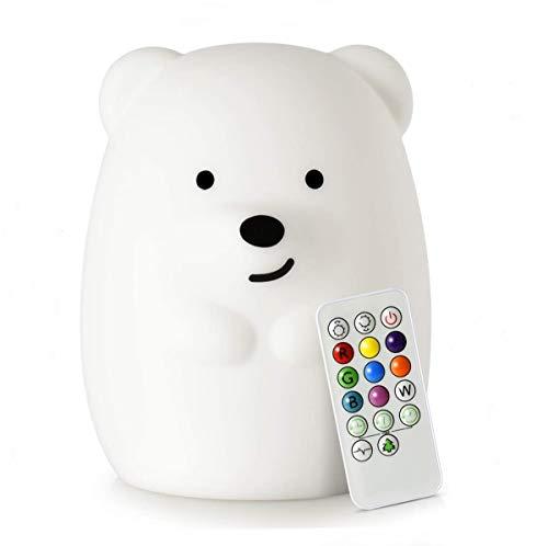 Große Bär Nachtlichter für Kinder, Silikon Nachttischlampe, Kinder zimmerlicht, LED Lichter, Augenpflege, einstellbare Helligkeit und Farbe, Zeiteinstellung, Touch-Steuerung und Fernbedienung - Groß