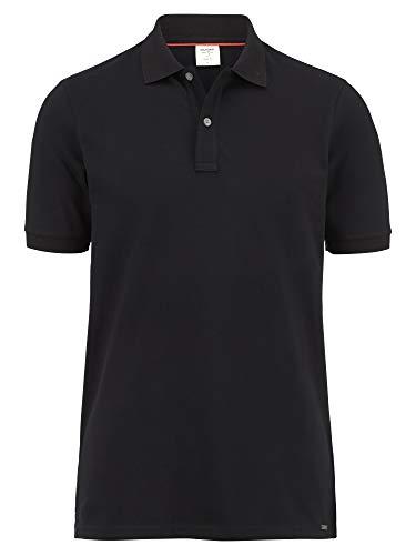 OLYMP Herren Polo Shirt Kurzarm Level Five Casual Polo,Einfarbig,Body fit,Polo-Kragen,Schwarz 68,M