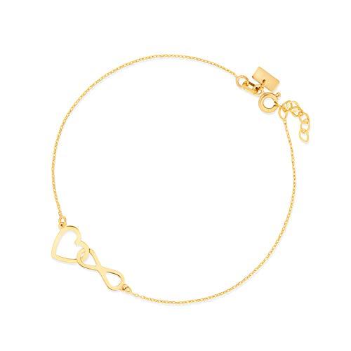 Sinez Gold Damen-Armband mit Anhänger Infinity Unendlich Herz 8 Karat (333) Gelbgold