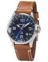 Torgoen T9 Blue GMT Pilot Watch | 42mm - Brown Leather Strap