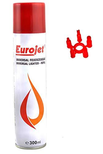 EUROJET Feuerzeug Gas 1 x 300 ml Dose Groß mit Adapter im Deckel Universal Gas zum nachfüllen von z.B. Jet Flame Sturm Feuerzeug geeignet für Küchen Brenner Flambier Brenner