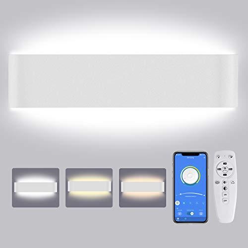 Lureshine - L谩mpara de pared LED para interior, 28 W, regulable, moderna, con mando a distancia, luz blanca fr铆a, luz c谩lida, luz neutra, 40 cm, iluminaci贸n de pared para sal贸n, dormitorio, pasillo