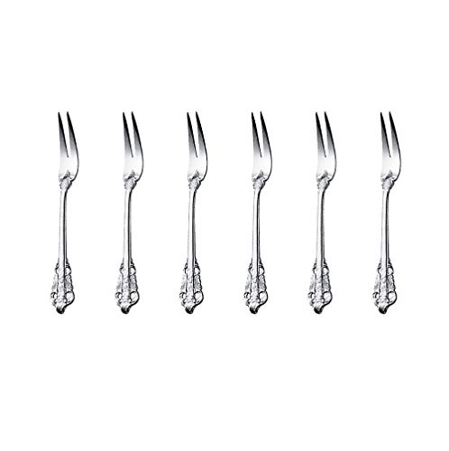 ZFQ - Set di Posate in Acciaio Inox 18/10, lucidatura a Specchio, per casa, Cucina e Ristorante, Acciaio Inossidabile, 6 forchette a Due rebbi