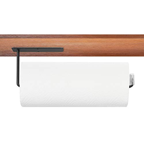 HLHyperLink Kitchen Paper Towel Holder - 304 Stainless Steel Large Rolls Papertowel Rack Under Cabinet and Wall Mount Both Available in Adhesive and Screws, Black