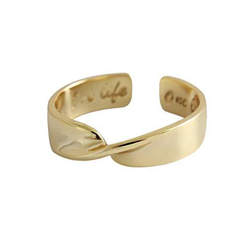 Esberry Massives Sterling Silber Ring Einfacher Vergoldeter Möbius Ringe öffnen Ringe Natürlicher Kreativ Handgemachter Einzigartiger Schmuck Geschenk für Frauen
