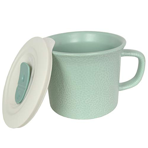 Corningware 20 Ounce Hammered Sage Green Meal Mug With Vented Lid