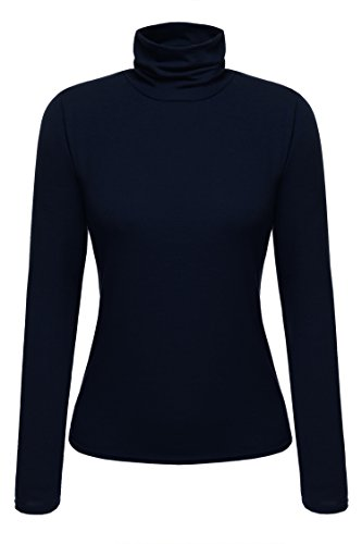 Zeagoo Damen Shirt Langarm mit Rollkragen Langarmshirt Bluse Casual Oberteile Stretch Shirt Slim Fit Herbst Winter Marineblau XL
