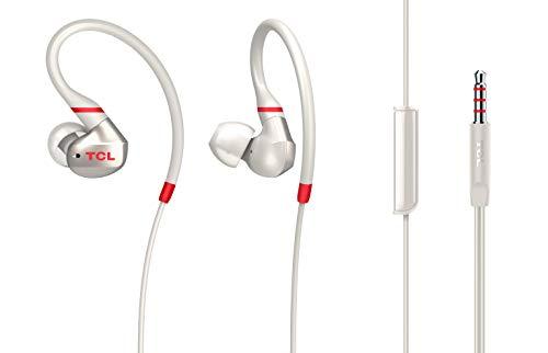 TCL ACTV100 In-Ear Sportkopfhörer mit Mikrofon (geräuschisolierend, IPX4 Standard, integrierte Fernbedienung und Mikrofon zur Steuerung von Musik und Anrufen, flexibler Ohrbügel), Crimson White