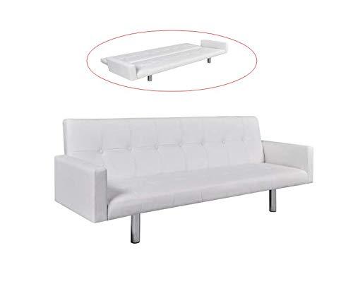 FESTNIGHT Sof/á Cama Reclinable Lounge de Cuero Sint/ético Respaldo Ajustable con 3 Configuraciones de Posici/ón Negro