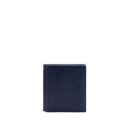 DUDU Portafoglio Uomo Vera Pelle Piccolo con Portamonete Porta Carte Tessere Tascabile Documenti Banconote Blu