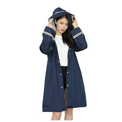 LiPengTaoShop Raincoat Regen Gearrain Poncho Regen Getriebe Regenmäntel for Erwachsene wasserdichte Regenjacke Fashion Trenchcoat Regen Ponchos for Frauen (Color : Blue, Size : L)
