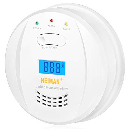 HEIMAN Detector de monóxido de carbono, EN 50291, alimentado por baterías de 5 años y sensor de 10 años, alarma CO, con pantalla LCD-723ESY
