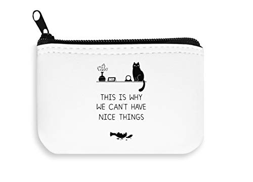 Cat Problems THS Is Why We Can't Have Nice Things Zipper Wallet Coin Pocket Purse Billetera