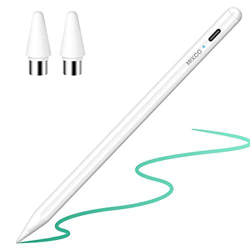 Mixoo Stylus Stift für iPad Aktiver Stylus Pen für Touchscreen Wiederaufladbarer Tablet Stift mit Zwei 1,2mm Spitze,Kompatibel mit iPad/Pro/Mini/Air/ iPhone,Samsung,Android Tablets und Smartphone