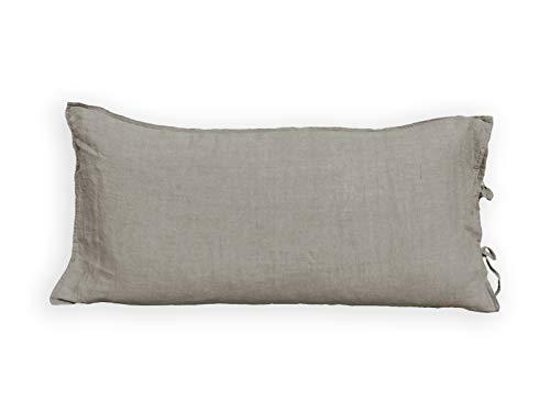 beties Leinen Kissenbezug ca. 40x80 cm mit Hotelverschluß 100% Leinen im Stone - Washed Design Kissenhülle Kopfkissenbezug in der Farbe Taupe