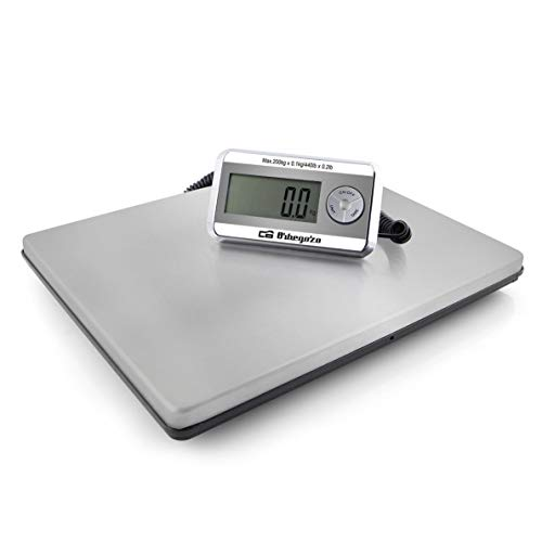 Orbegozo PC 5500 Balance de cuisine industrielle 200 kg max. Surface en acier inoxydable 39 x 31 cm Fonction tare, fonctionne à piles et avec adaptateur secteur