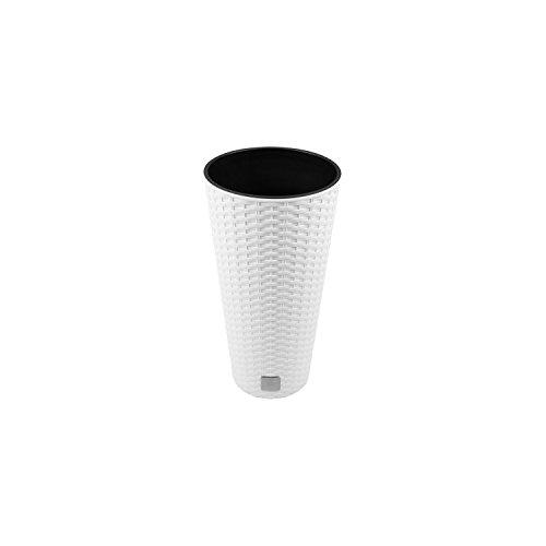 Unbekannt Vaso di Fiori Vaso Rato plastica Rotondo con impianto di Rivestimento Bianco DRTUS RATO TUBUS