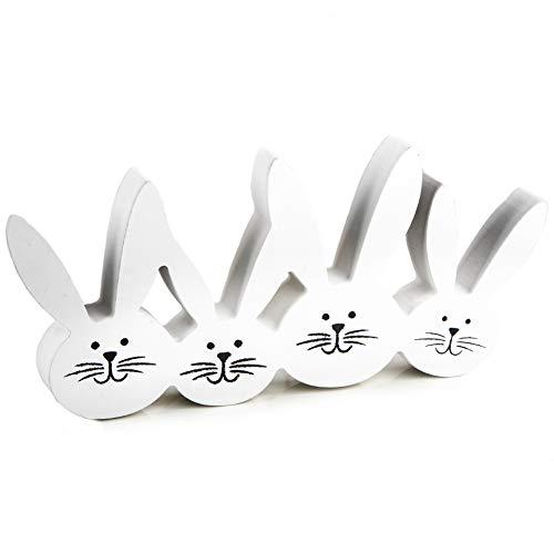 Logbuch-Verlag Figurine décorative pour Lapin de Pâques en Bois Blanc 22 x 11 cm Décoration de Pâques à Poser – 4 Lapins de Lapins