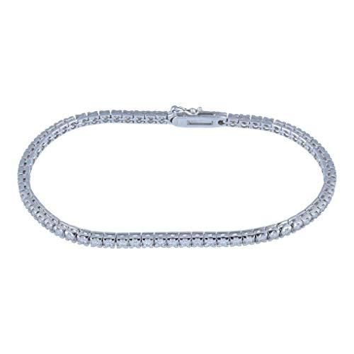 Gioiello Italiano - Bracciale tennis da donna in oro bianco 18kt con 67 diamanti, 2.01ct, colore F, lunghezza 18cm